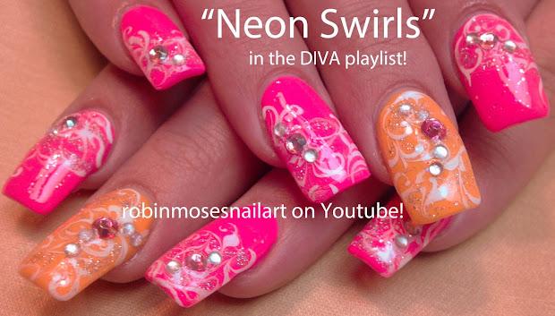 Neon Orange Bling Nails