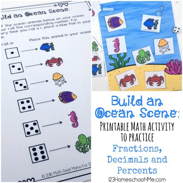 fractions build an ocean scene math activity. Black Bedroom Furniture Sets. Home Design Ideas
