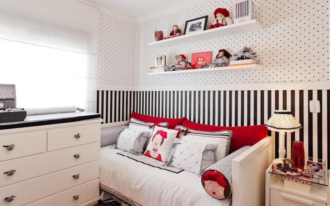 quarto para menina branco, preto e vermelho