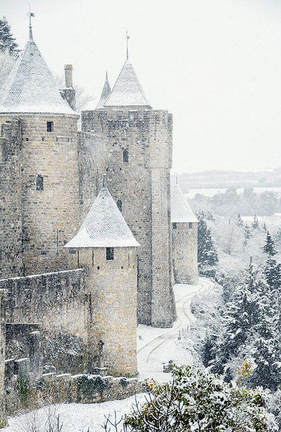 Medieval castle in the snow-Travel photography