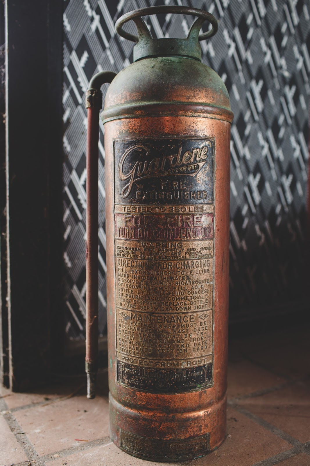 Antique Copper Guardene Fire Extinguisher in Bells Theatre - bit.ly/bellstheatre
