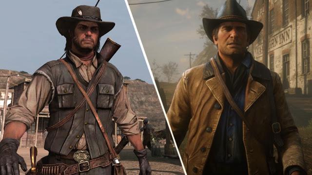 شاهد المقارنة بين لعبة Red Dead Redemption و الجزء الثاني ، تطور رهيب في الرسومات لكن ..