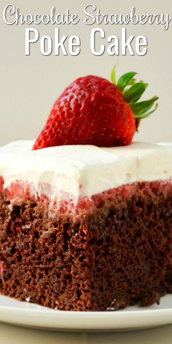 Chocolate Strawberry Poke Cake is a delicious easy to make dessert from scratch! Perfect recipe for Easter from Serena Bakes Simply From Scratch.