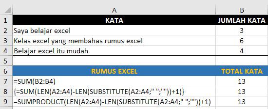Cara menghitung jumlah kata sebuah range excel