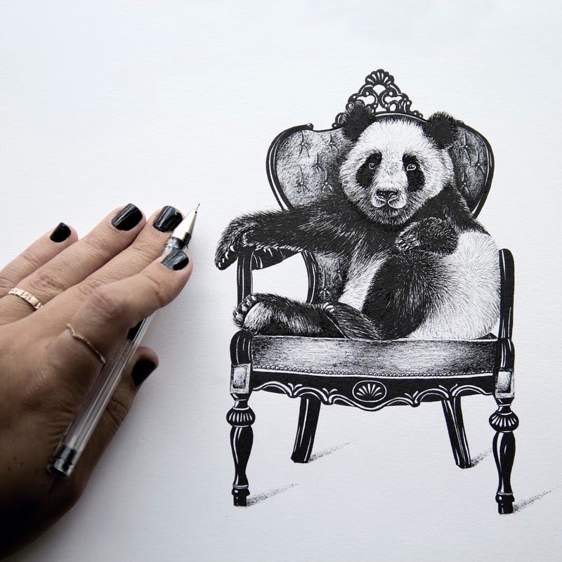 03-Panda-on-an-Armchair-Surreal-Animals-Mostly-Ink-Drawings-www-designstack-co