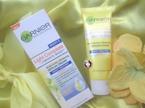 Review Garnier Light Complete White Speed Multi-Action Whitening Serum Cream Night Restore