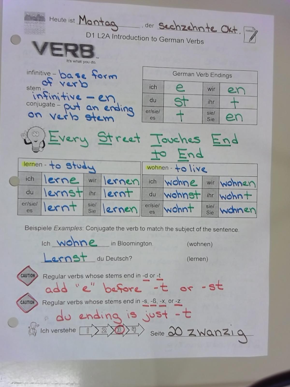 Alles Klar German 1 Regular Verbs And Question Words