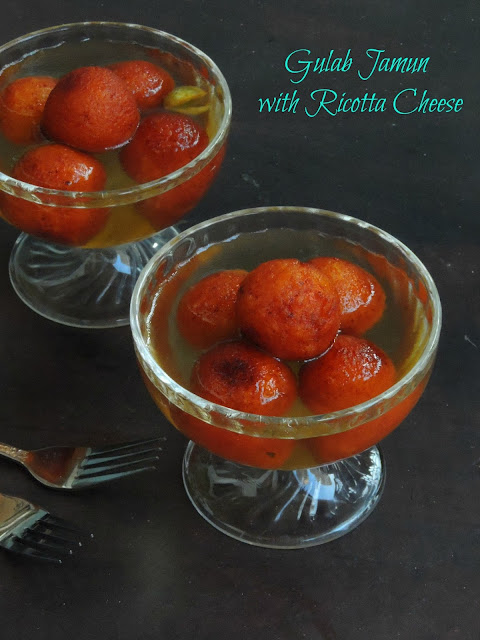Gulab jamun with ricotta cheese