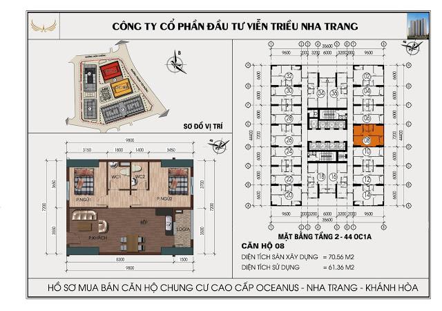 Sơ đồ căn hộ số 08 tòa OC1A Viễn Triều Nha Trang
