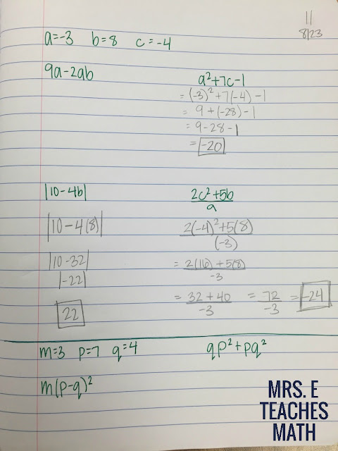 Evaluating Expressions INB Page for Algebra 1