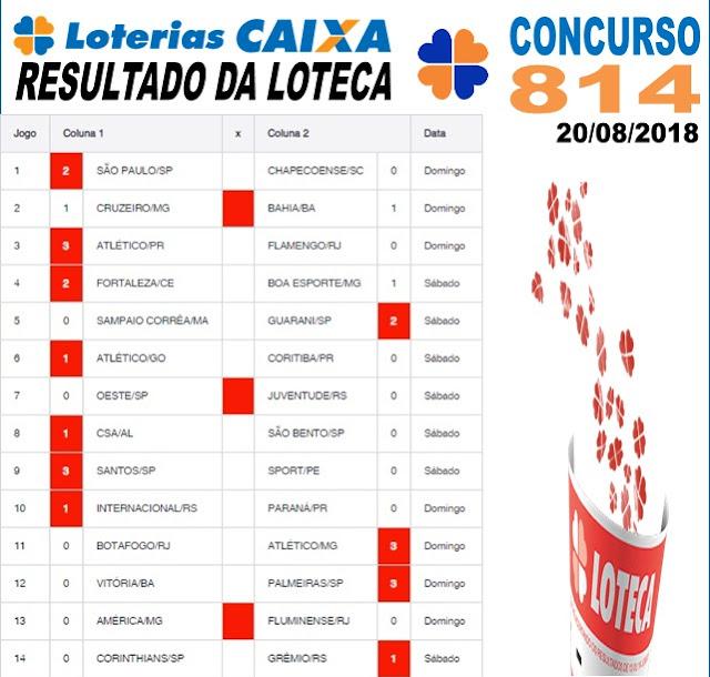 Resultado da Loteca concurso 814 de 20/08/2018 (Imagem: Informe Notícias)