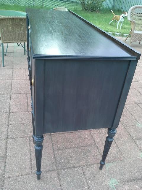 Charcoal Grey Vintage Mahogany Sideboard
