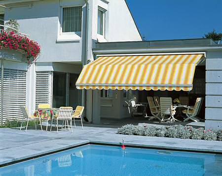 High Quality Awnings Are A Concave Shaped Covering Attached To An Exterior Entrance Of A  Structure Such As A House Or A Building. The Overhang Serves As A Canopy Made  Of ...