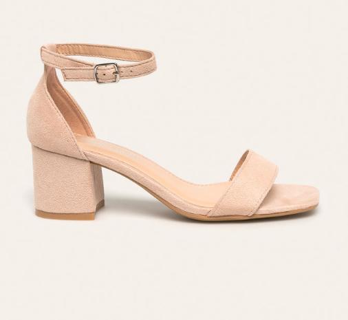 Sandale moderne cu toc gros bej de zi ieftine piele intoarsa eco