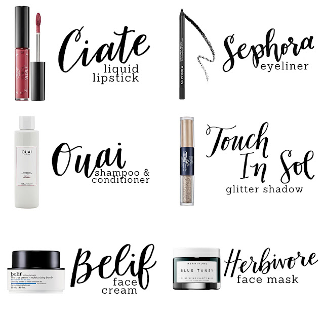 Ciate Liquid Lipstick, Sephora Eyeliner, Ouai Shampoo and Conditioner, Touch in Sol Glitter Shadow, Belif Face Cream, Herbivore Face Mask, Beauty Blogger, Makeup Review, College Blogger, Lifestyle Blogger, Makeup Subscription Box Review