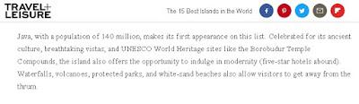 Pulau Jawa, Pulau Terbaik di Dunia