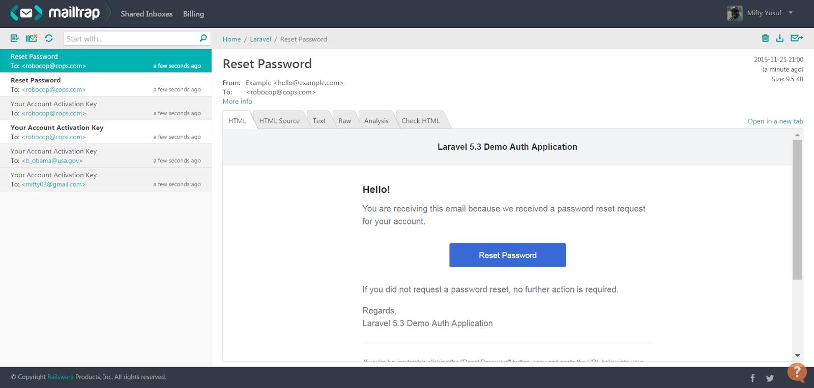 Custom Email template for Laravel Password Reset