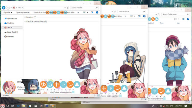 Windows 10 Ver. 1803 Theme Yuru Camp by Enji Riz