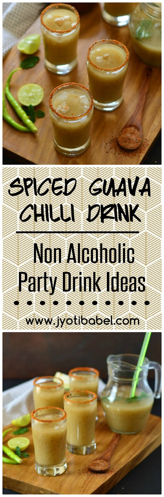 Spiced Guava Chilli Drink Recipe | Guava Chilli Mocktail Recipe. If you are looking for a summer drink recipe with Indian flavours, this spiced guava chilli drink will fit the bill perfectly.