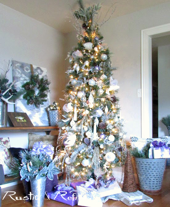 Silver and White Christmas Tree Decor