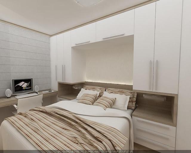 Construindo minha casa clean quarto de casal pequeno com for Dormitorio para quarto pequeno