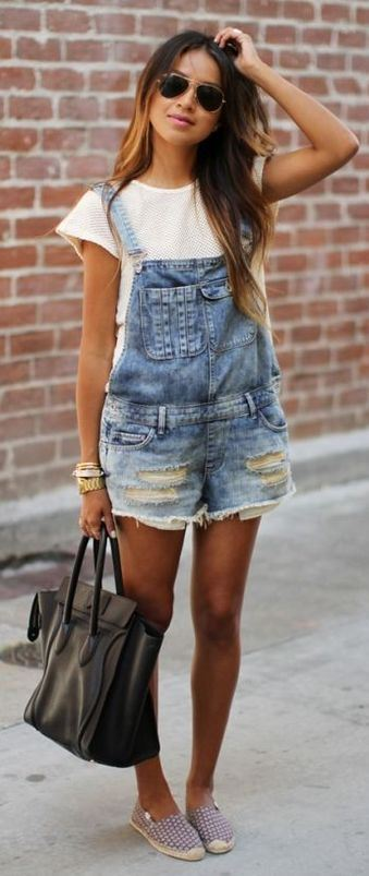 cool outfit idea / bag + denim jumpsuit + white tee + loafers