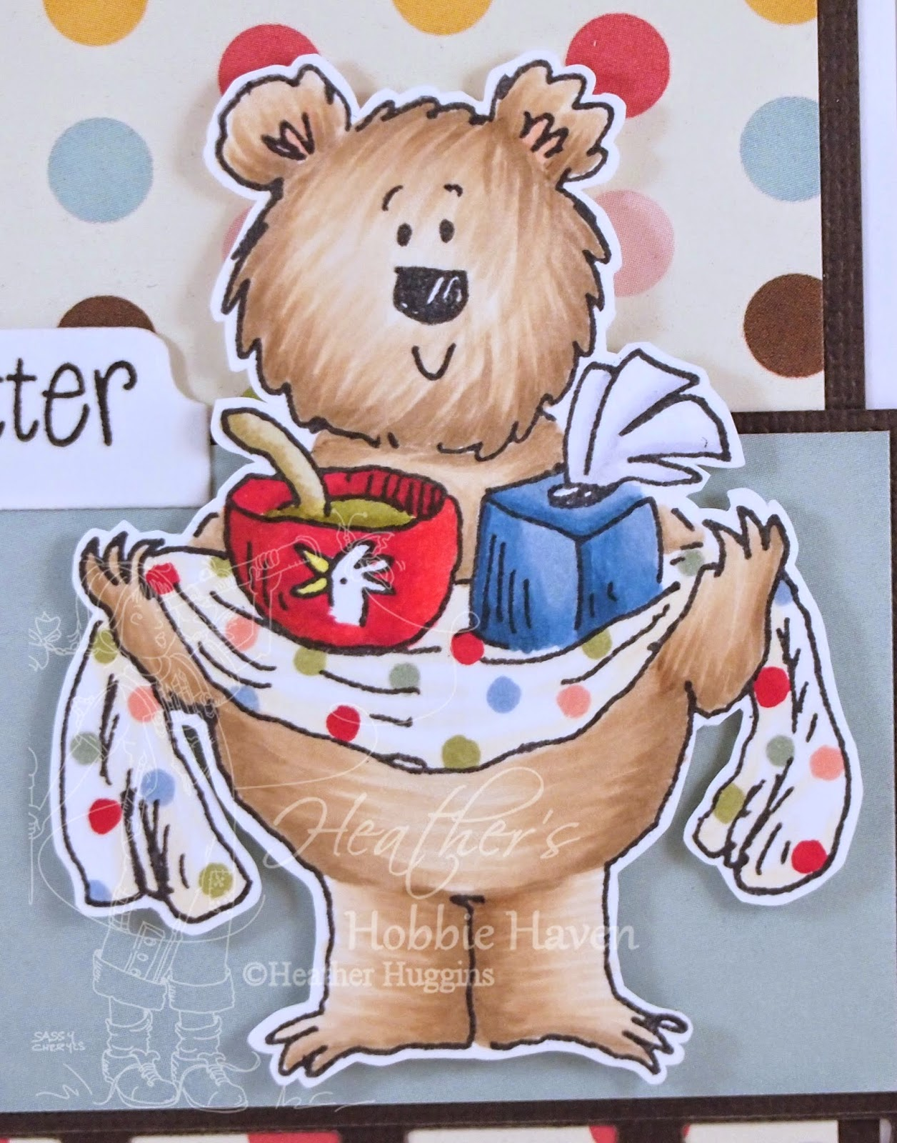 Heather's Hobbie Haven - Fred Bear Gives Comfort Card Kit