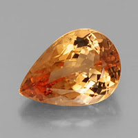 Image showing a pear cut Imperial Topaz, the birthstone for November