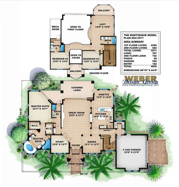 25 tropical home plan with floor plans for Tropical home plans