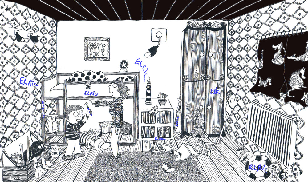illustration children encre ink jeunesse family