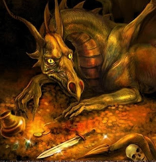 Smaug, a metaphor from Lord of the Rings, sits on the pile of gold and skeletal remains of the departed confronters. A metaphor of: Trump, Pirates, Narcissistic Takers, Vampires, and Gangsters / The Banks, ALEC