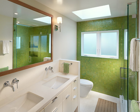 banheiro azulejos verdes
