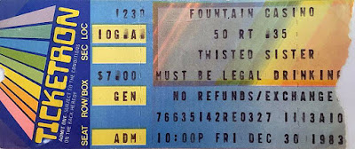 Twisted Sister ticket stub for the Fountain Casino rock club December 30, 1983