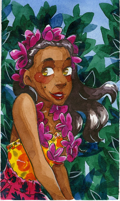 illustration painted with Prima Marketing Watercolor Confections Tropicals