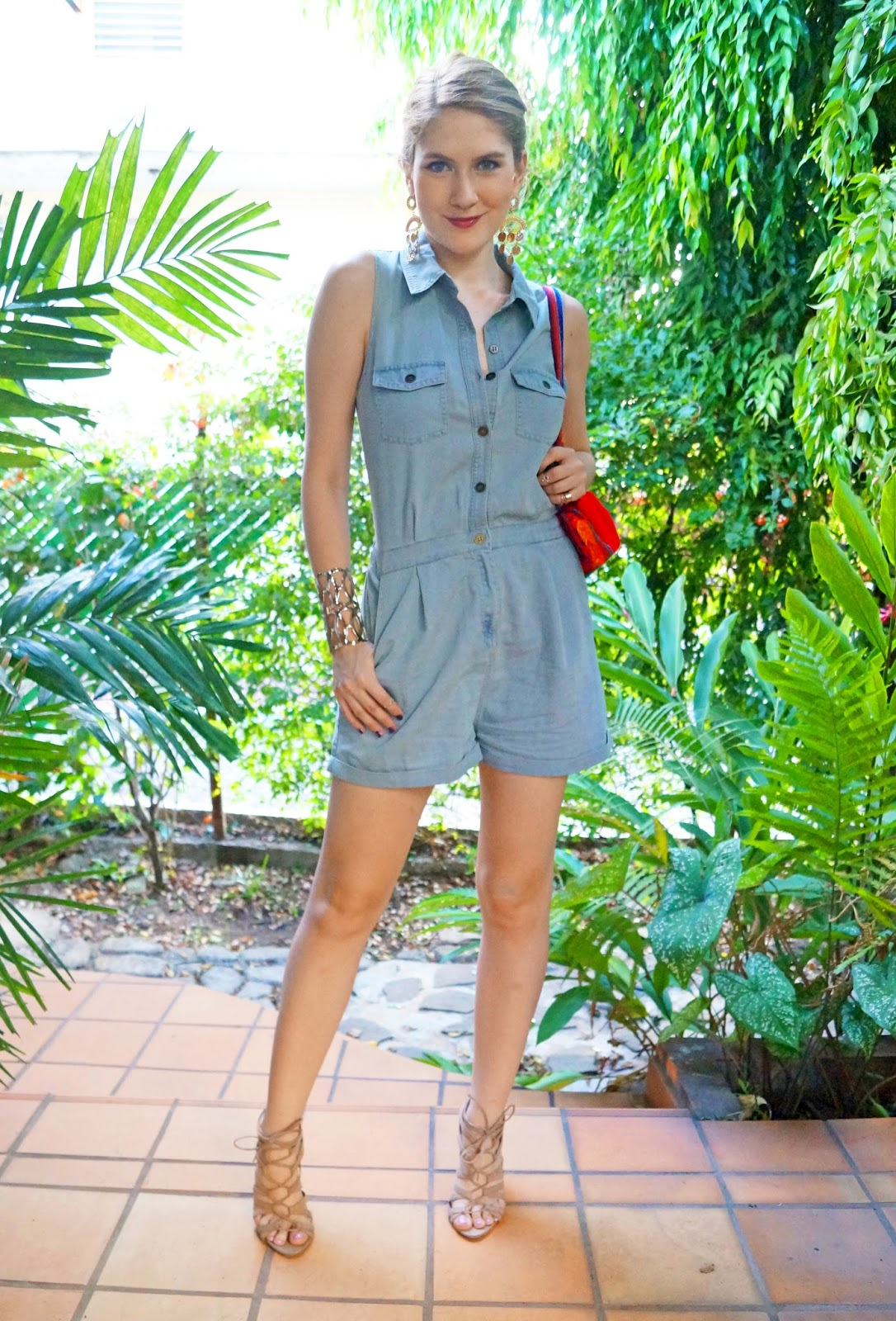 Denim Romper and Sexy Heels for Summer