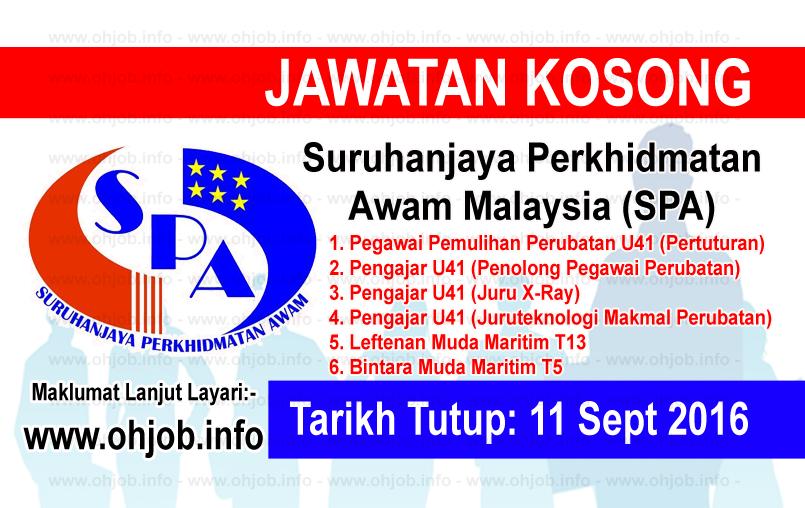 Jawatan Kerja Kosong Suruhanjaya Perkhidmatan Awam Malaysia (SPA) logo www.ohjob.info september 2016