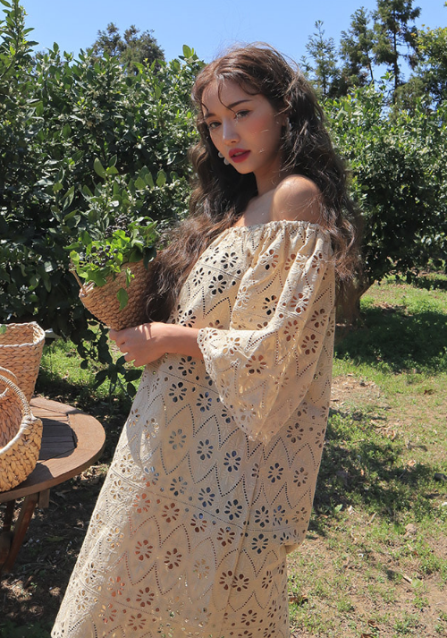 Embroidered Eyelet Off-the-Shoulder Dress