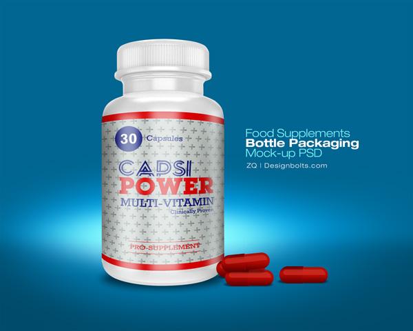 Food Supplement Bottle Mockup PSD
