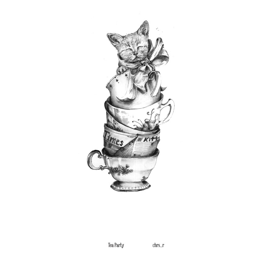 11-Tea-Party-Chris-R-Detailed-Drawings-Involving-Animals-www-designstack-co