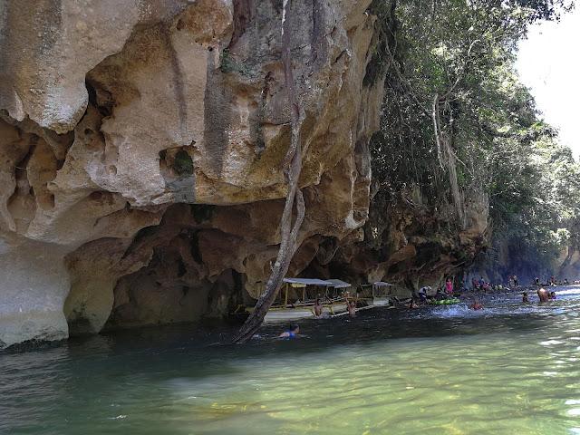 rock formations, natural bridge, river, kayaking