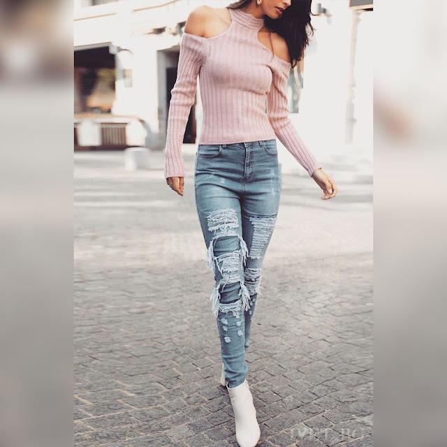 Μακρυμάνικη μεσάτη ροζ γυναικεία μπλούζα AKELA