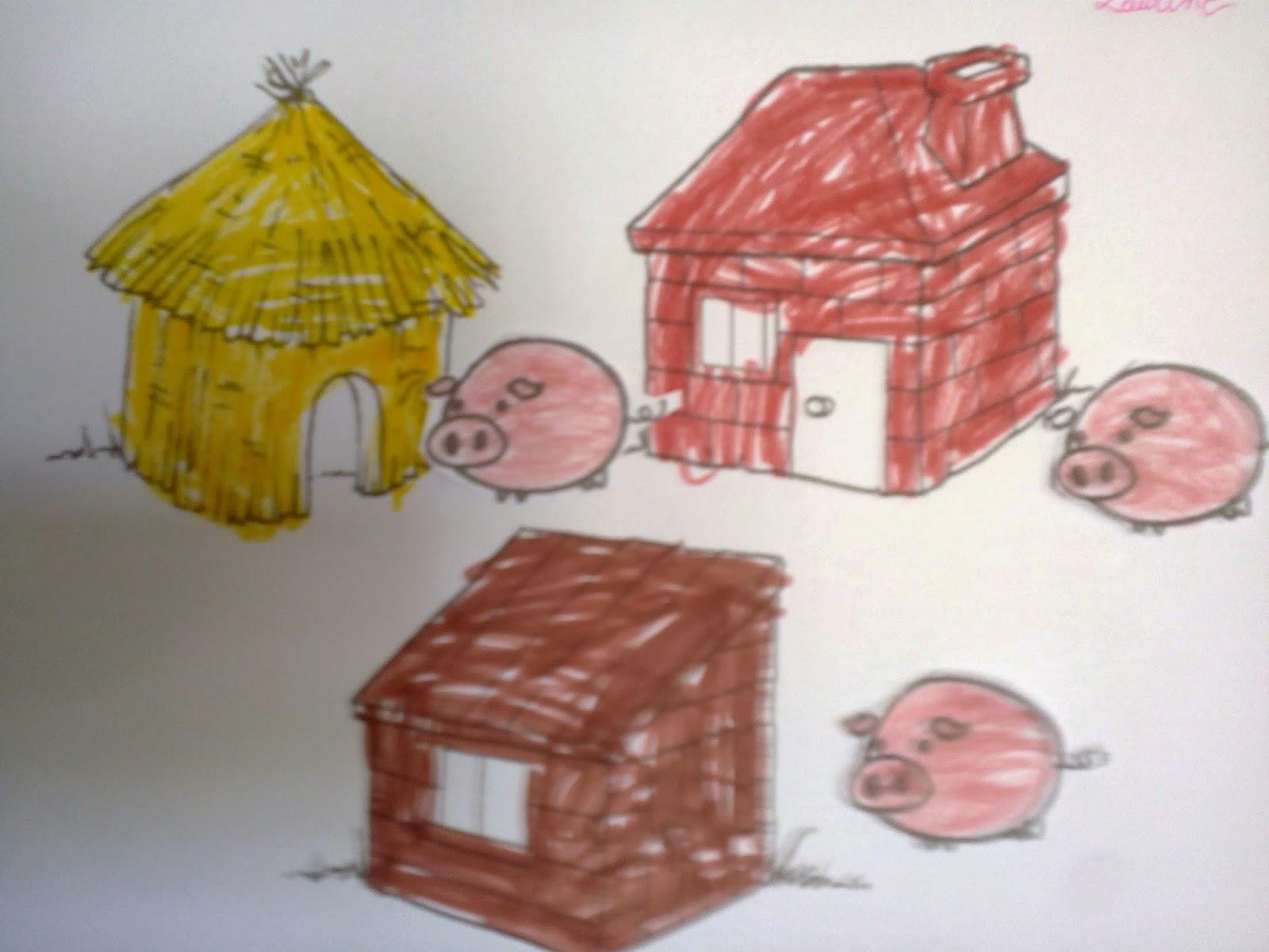 fripouilles et gribouilles collage les trois petits cochons