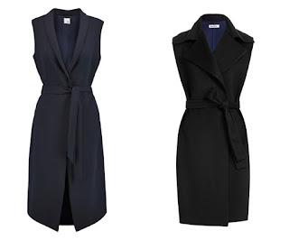 Удлиненный синий и черный жилет с поясом