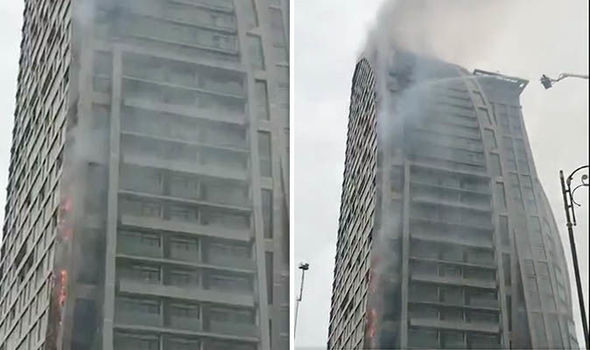Trump Tower Engulfs In Flames In Azerbaijan Capital Baku Weeks After Deadly Blaze At Building In New York