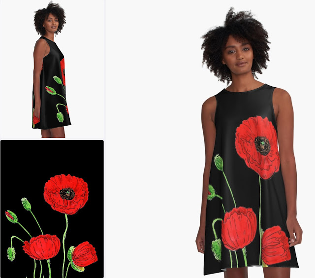 Red Poppies Watercolor Black Summer Dress by Irina Sztukowski