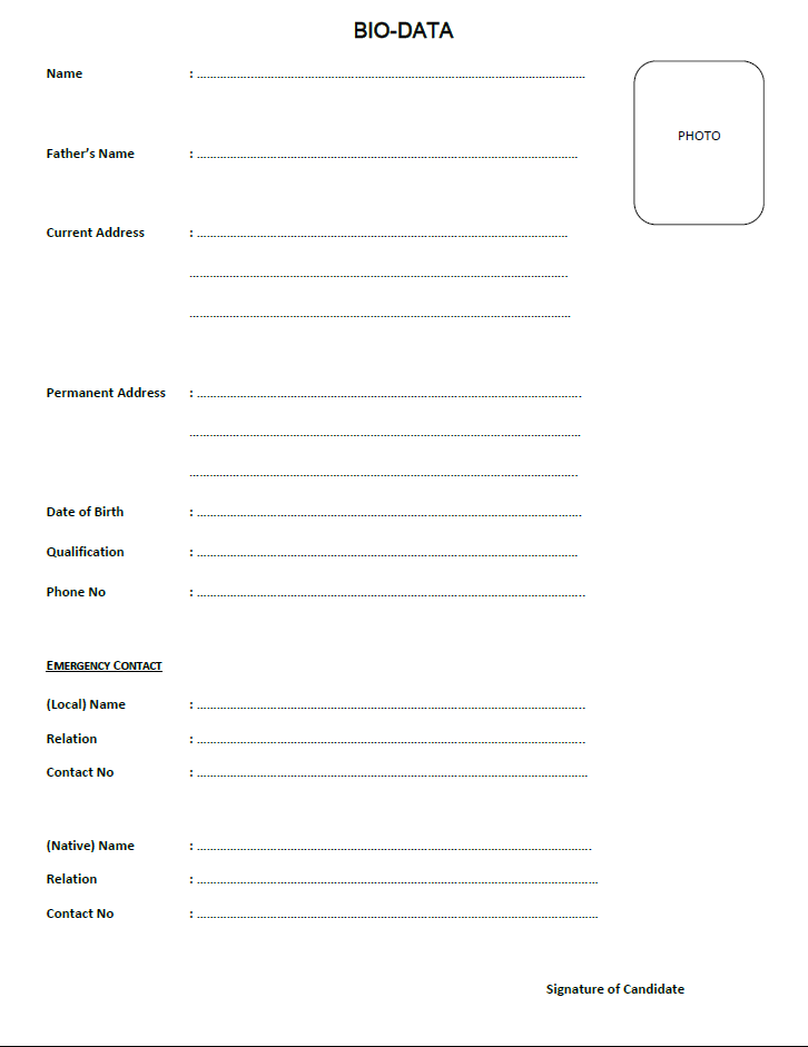 Biodata Form For Job Application Philippines Templates