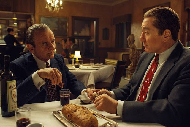 Joe Pesci as Russell Bufalino and Robert De Niro as Frank Sheeran in The Irishman