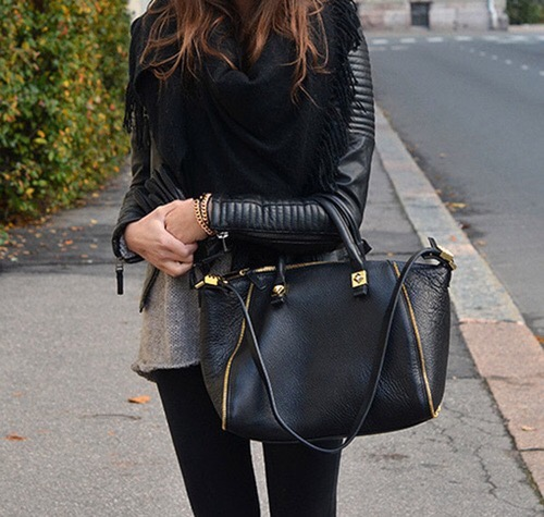 black leather jacket with gold zippers