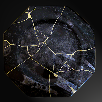 Kintsugi Fossil Plate Front