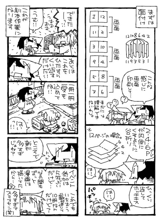 同人誌製本作業についての漫画。
